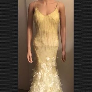 Long Yellow Beaded fairy Bottom Gown Size 2